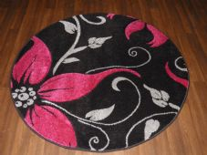 MODERN NEW 120X120CM CIRCLE RUGS WOVEN BACK HAND CARVED BLACK/FUSHA LILY LOVLEY